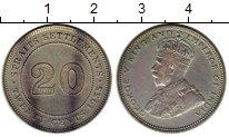Изображение Монеты Великобритания Стрейтс-Сеттльмент 20 центов 1935 Серебро XF