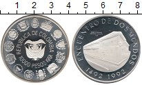 Изображение Монеты Колумбия 10000 песо 1991 Серебро Proof-
