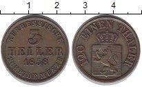 Изображение Монеты Гессен-Кассель 3 хеллера 1858 Медь XF-