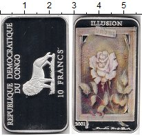 Изображение Монеты Африка Конго 10 франков 2001 Серебро Proof