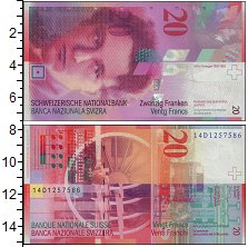 Изображение Банкноты Швейцария 20 франков 2000  UNC