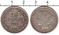 Изображение Монеты Либерия 25 центов 1906 Серебро XF-