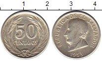 Изображение Монеты Сальвадор 50 сентаво 1953 Серебро XF