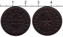 Изображение Монеты Южная Америка Чили 1/2 сентаво 1855 Медь XF