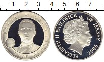 Изображение Монеты Остров Джерси 5 фунтов 2006 Серебро Proof- Бобби Мур
