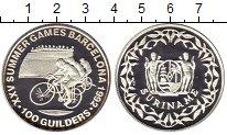 Изображение Монеты Суринам 100 гульденов 1992 Серебро Proof- Олимпийские игры, ве