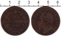 Изображение Монеты Европа Италия 10 сентесим 1867 Медь VF