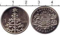 Изображение Монеты Латвия 1 лат 2009 Медно-никель XF