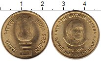 Изображение Монеты Индия 5 рупий 2010 Латунь UNC- 100 лет Матери Терез
