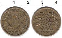Изображение Монеты Веймарская республика 10 пфеннигов 1925 Латунь XF-