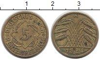 Изображение Монеты Германия Веймарская республика 5 пфеннигов 1924 Латунь XF-