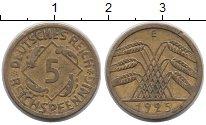 Изображение Монеты Веймарская республика 5 пфеннигов 1925 Латунь XF- Е
