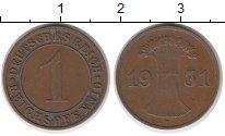 Изображение Монеты Германия Веймарская республика 1 пфенниг 1931 Медь XF