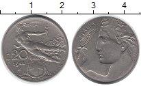Изображение Монеты Италия 20 сентесим 1911 Медно-никель XF-