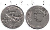 Изображение Монеты Европа Италия 20 сентесим 1908 Медно-никель XF-
