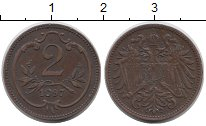 Изображение Монеты Европа Австрия 2 геллера 1897 Бронза VF