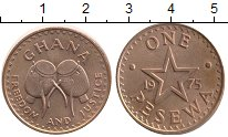 Изображение Монеты Гана 1 песева 1975 Бронза UNC-