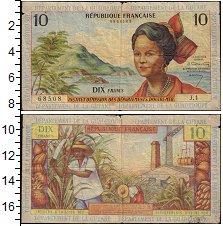 Изображение Банкноты Франция Французская Гвиана 10 франков 1964  VF-