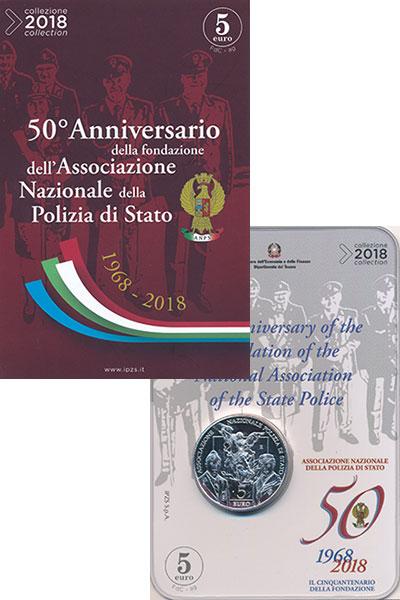 Изображение Подарочные монеты Италия 5 евро 2018 Серебро UNC