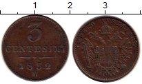 Изображение Монеты Ломбардия 3 сентесим 1852 Медь XF