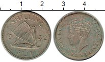 Изображение Монеты Фиджи 1 шиллинг 1942 Серебро VF Георг VI
