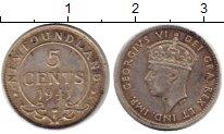 Изображение Монеты Ньюфаундленд 5 центов 1941 Серебро XF- Георг VI