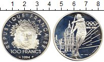 Изображение Монеты Франция 100 франков 1994 Серебро Proof- Олимпийские игры, Ме