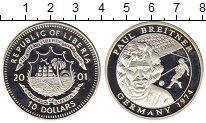Изображение Монеты Либерия 10 долларов 2001 Серебро Proof- Чемпионат Мира по фу