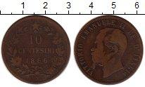 Изображение Монеты Италия 10 сентесим 1866 Бронза VF Виктор Эммануил II
