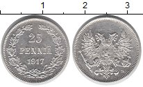 Изображение Монеты Финляндия 25 пенни 1917 Серебро XF