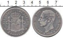 Изображение Монеты Европа Испания 5 песет 1883 Серебро XF-