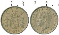 Изображение Монеты Испания 100 песет 1988 Латунь XF