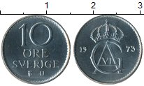 Изображение Монеты Европа Швеция 10 эре 1973 Медно-никель UNC-