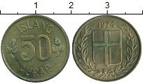 Изображение Монеты Исландия 50 аурар 1974 Латунь XF
