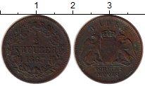 Изображение Монеты Германия Баден 1/2 крейцера 1863 Медь XF-