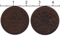 Изображение Монеты Баден 1 крейцер 1871 Медь XF-