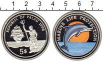 Изображение Монеты Палау 5 долларов 1998 Серебро UNC Сохранение морской ж