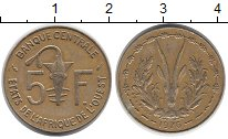 Изображение Монеты Западная Африка 5 франков 1976 Латунь XF Антилопа