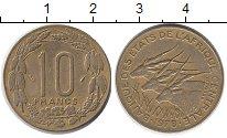 Изображение Монеты Центральная Африка 10 франков 1978 Латунь XF Антилопы