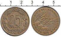 Изображение Монеты Центральная Африка 25 франков 1975 Латунь XF