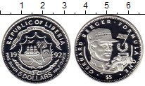 Изображение Монеты Африка Либерия 5 долларов 1992 Серебро Proof