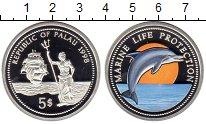 Изображение Монеты Палау 5 долларов 1998 Серебро Proof Защитим морскую фаун