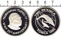 Изображение Монеты Тонга 2 паанга 1986 Серебро Proof