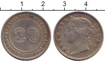 Изображение Монеты Стрейтс-Сеттльмент 20 центов 1888 Серебро XF-