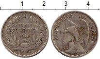 Изображение Монеты Южная Америка Чили 20 сентаво 1916 Серебро XF-