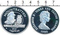 Изображение Монеты Теркc и Кайкос 10 крон 1980 Серебро Proof-