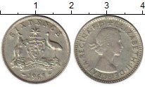 Изображение Монеты Австралия 6 пенсов 1963 Серебро VF