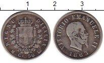 Изображение Монеты Европа Италия 50 сентесим 1863 Серебро VF
