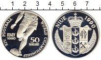 Изображение Монеты Ниуэ 50 долларов 1990 Серебро Proof- Чемпионат Мира по фу