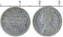 Изображение Монеты Индия 2 анны 1888 Серебро XF
